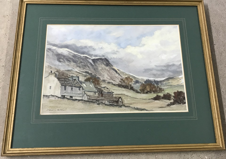 Lot 167 - Doreen Allen - pastel of a valley.