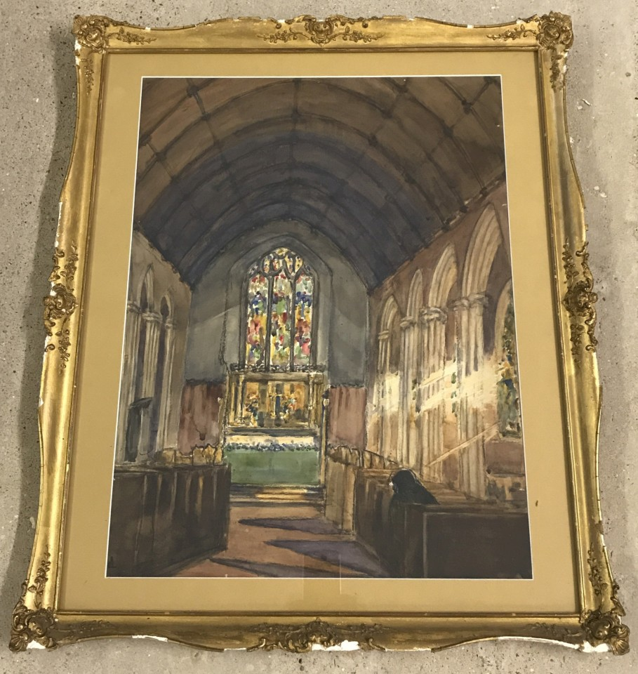 Lot 133 - Early 20th century watercolour of a church interior.