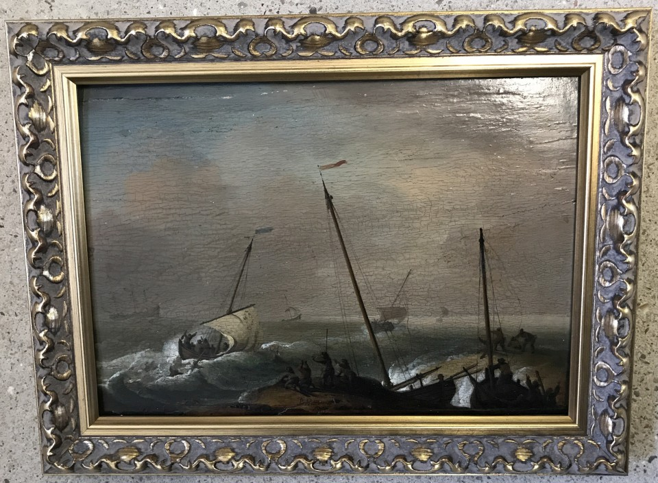 Lot 191 - Peter Monamy (1689-1749) (attrib.) - oil on board of ships on the coast.