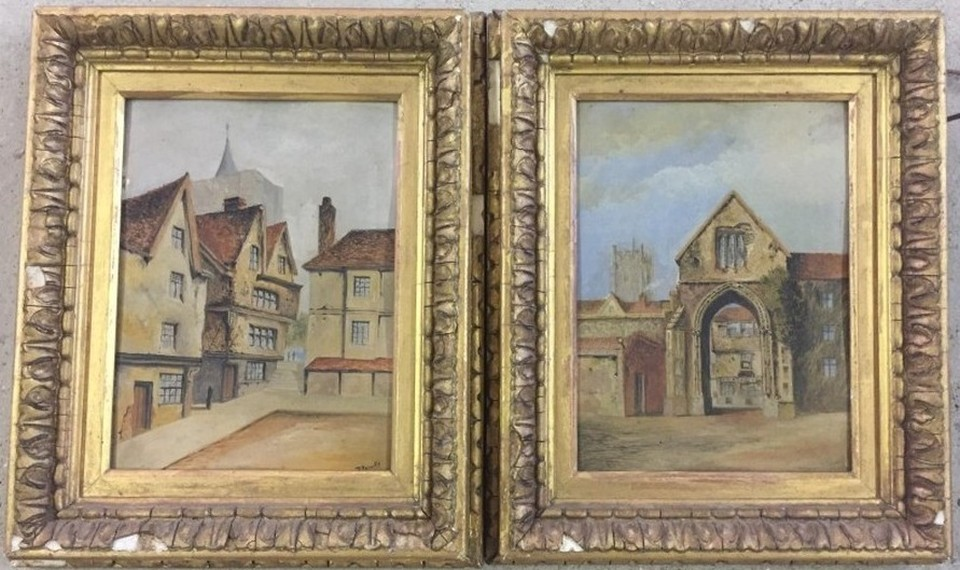 Lot 147 - A pair of Victorian gilt framed oils on board. A street scene together with a gatehouse.