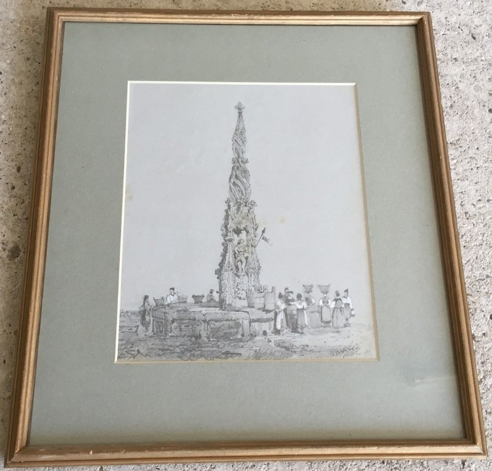 Lot 148 - 19th century pencil drawing heightened by white, of a Continental well head.