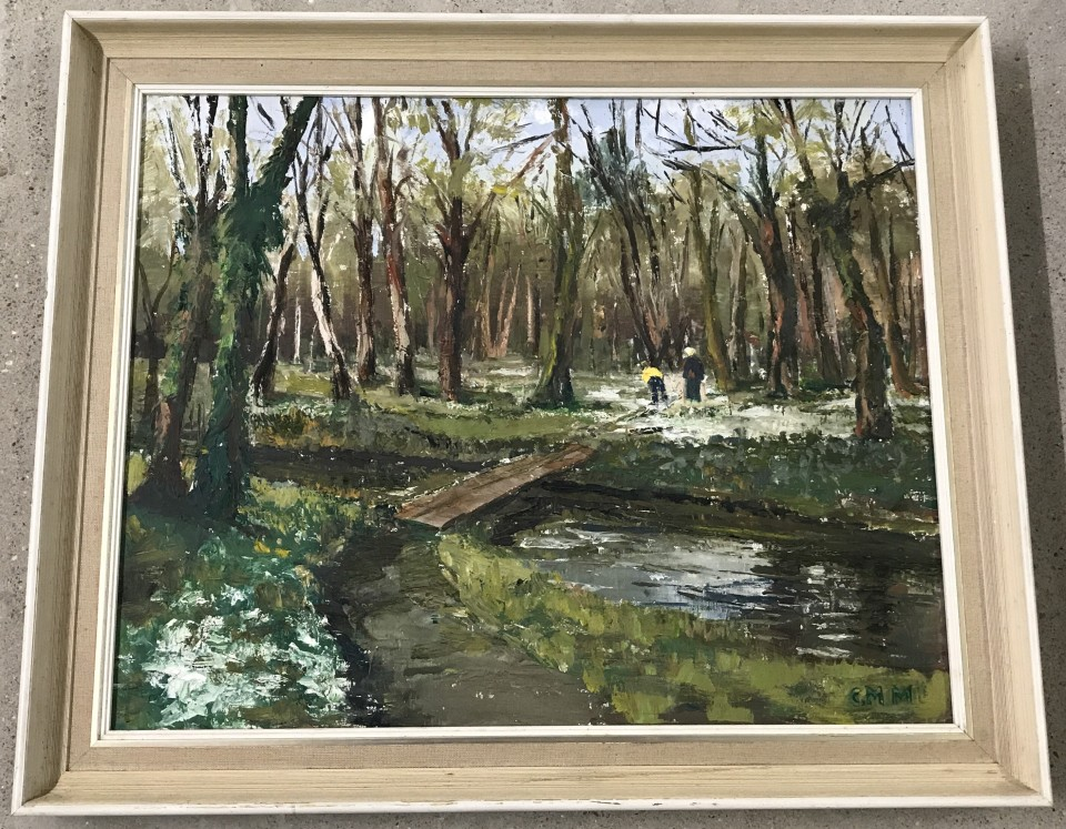Lot 140 - Christine M. Morter - oil on canvas 'Snowdrops by the Wensum'.