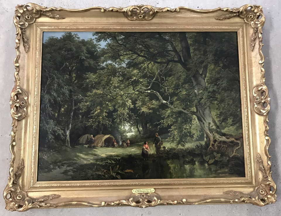 Lot 192 - H.J. Boddington - oil on canvas 'Gypsy Encampment'.