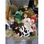 Box of ~25 Dolls and Clowns