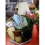 Box of Kitchen China and Artificial Flowers etc.