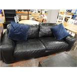 Large Two Seat Black Leather Sofa