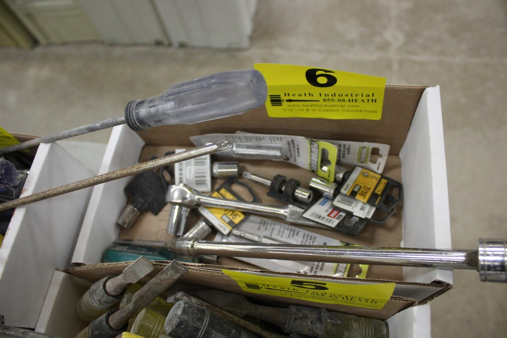 ASSORTED RATCHETS, EXTENSIONS. AND SOCKETS IN BOX