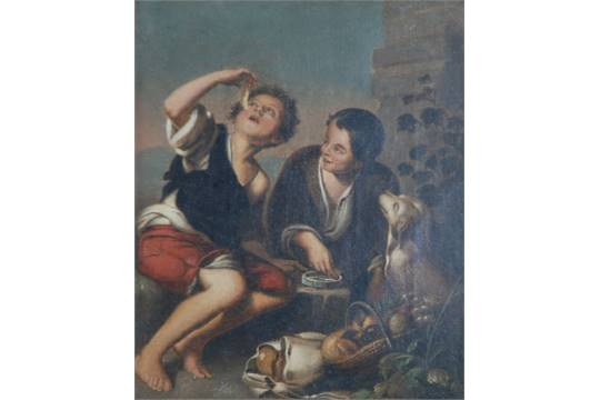 AFTER MURILLO 19th CENTURY OIL PAINTING ON CANVAS Two Boys Eating A Dog At Their Side 10 X 8