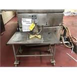 Morrison Can Opener, Attached to Table, Model #TT-29-C, S/N #9611368, L = 47'', W = 28'', H =