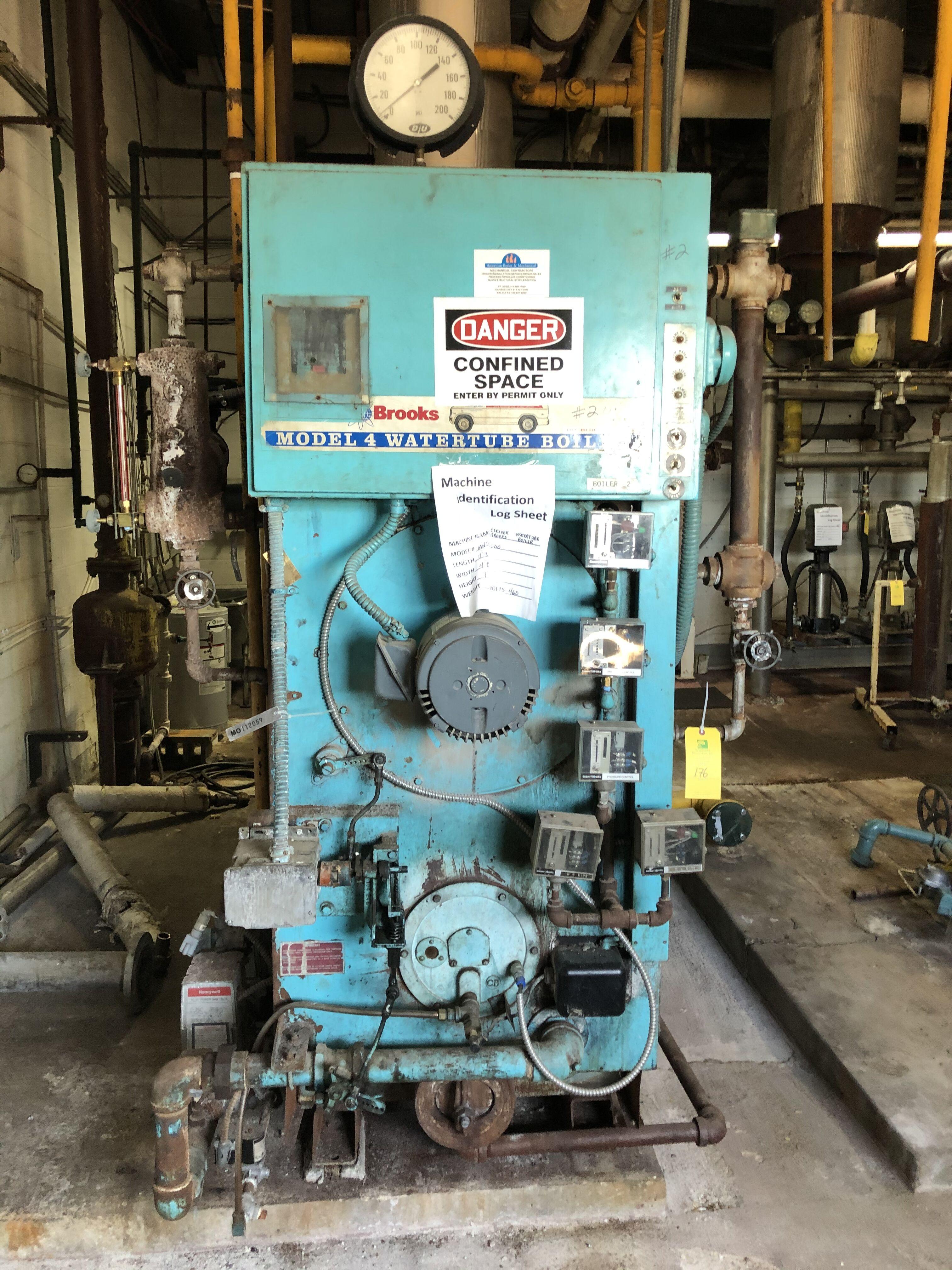 Lot 176 - Cleaver Brooks Water Tube Boiler, Model #M4P-6000, L = 11.8ft. W = 4.8ft. H = 7ft. S/N #46029666,
