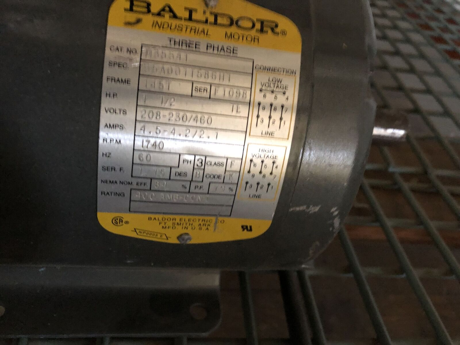 Lot 75 - Baldor 1.5 HP Motor