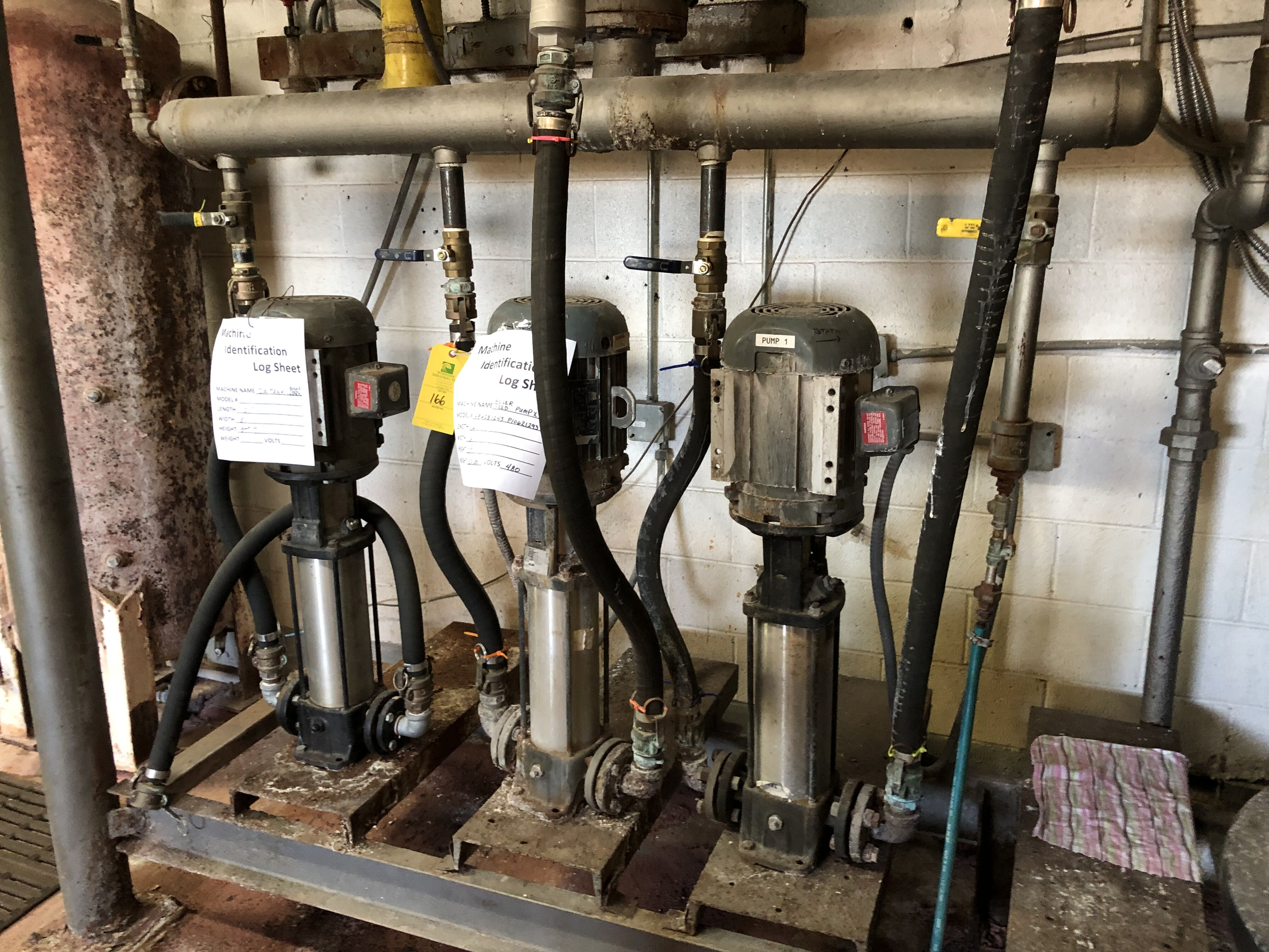 Lot 166 - (3) Boiler Feed Pumps (All on 1 Frame), Model # A96084243-P10621293, 480 Volts