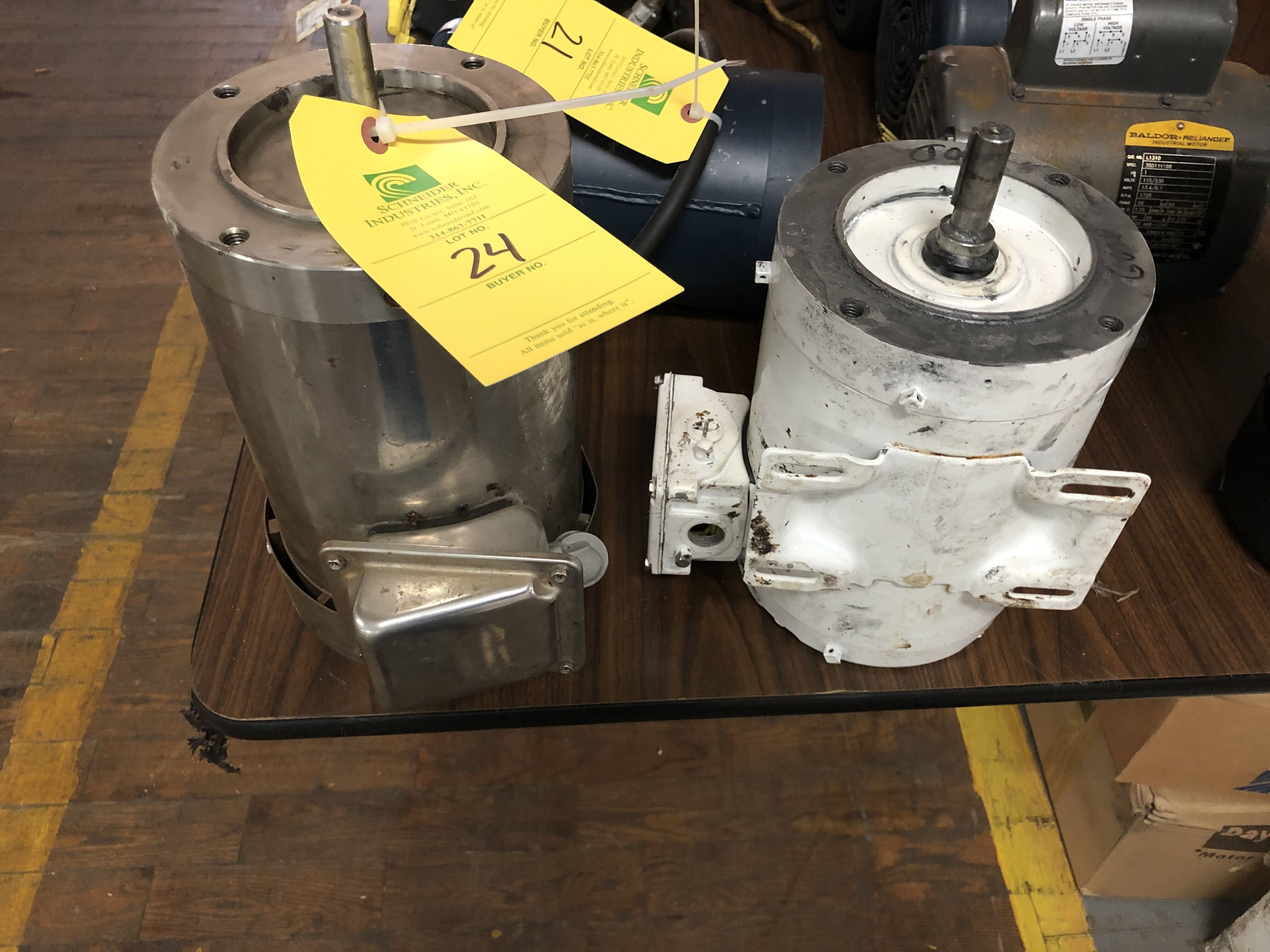 Lot 24 - (2) Motors, Nema 3/4 HP, FHP Washguard 2HP
