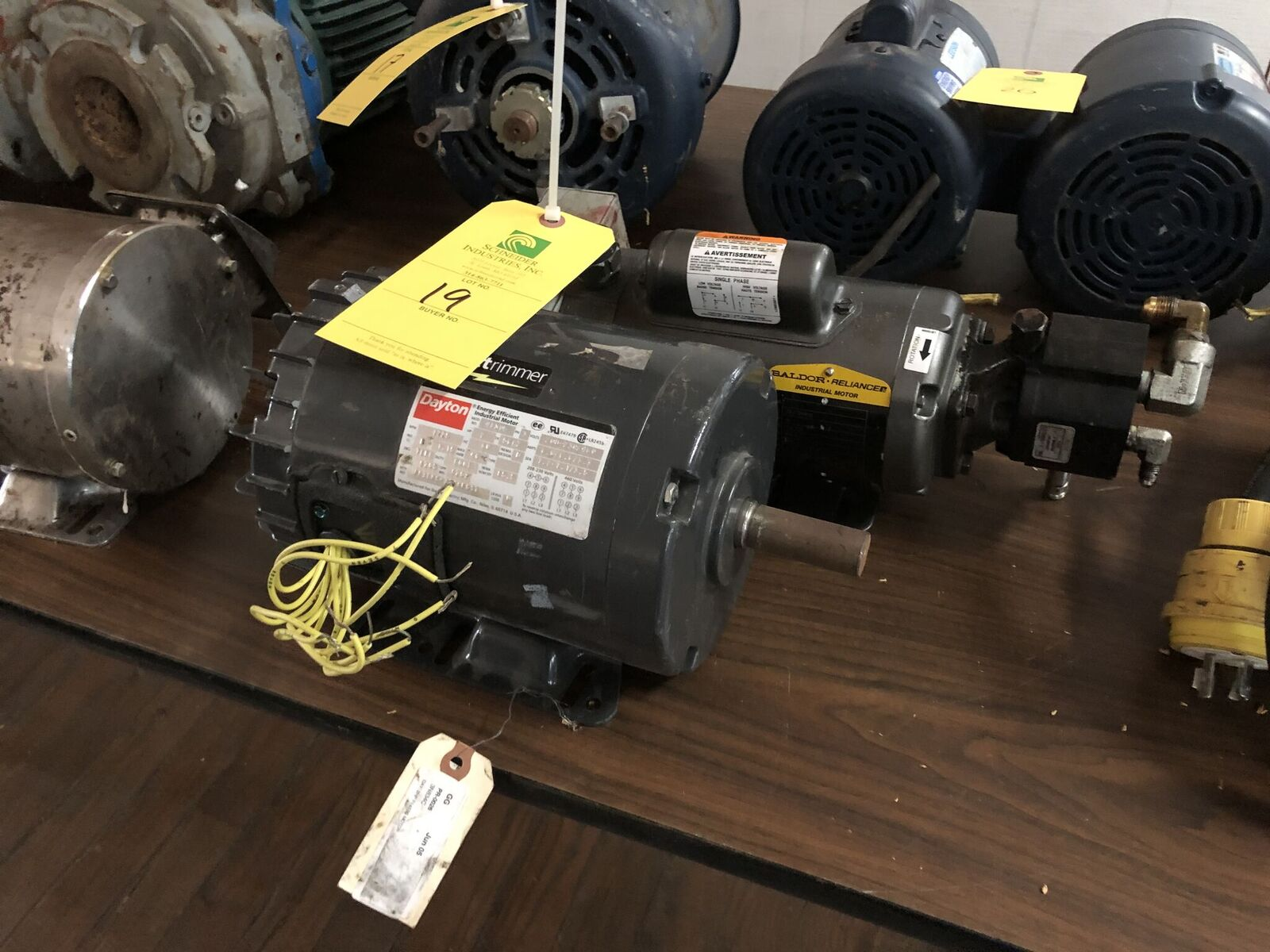 Lot 19 - (2) Motors, (1) Baldor 1/2 HP, (1) Dayton 2HP