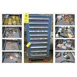 Vidmar Blue 10-Drawer Cabinet WITH CONTENTS
