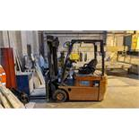 2003 Nissan 18 electric forklift truck with side shift & charger.
