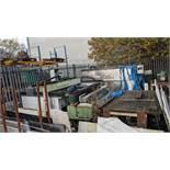 Quantity of machines in corner of yard including Cobalm model D15 6PM 3m CNC bridge saw, Marmo Mecca