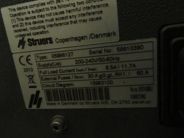 2012 STRUERS SECOTOM-15 WET CUT-OFF SAW TYPE 05996127, S/N 59910390 - Image 2 of 2