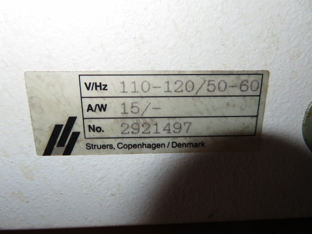 STRUERS POLECTROL ELECTROLYTIC POLISHER, S/N 2921497, 110=120/50-60 - Image 2 of 2