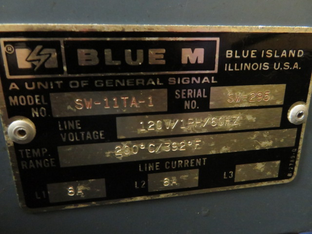 BLUE M SW-11TA-1 OVEN, 200 °C/ 392° F - Image 2 of 2