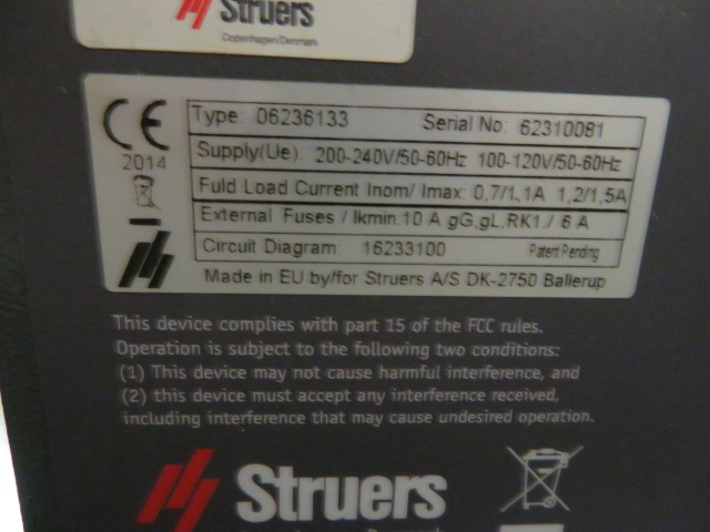 2012 STRUERS LAVAMIN STAND -ALONE CLEANING UNIT TYPE 06236133, S/N 62310081 - Image 2 of 2