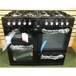 Ex Display Beko KDVF100K 100cm Dual Fuel Double Oven Range Cooker - Black - RRP£609