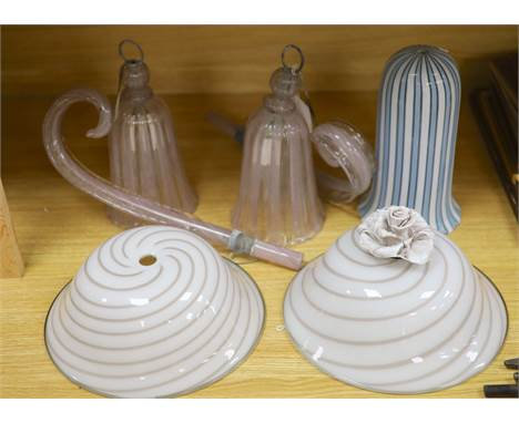 A collection of Italian glass lighting, comprising a near pair of brown and white striped circular ceiling lights with flower