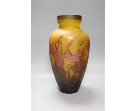 A Galle style glass vase, etched with flowers and leaves, height 33.5cm