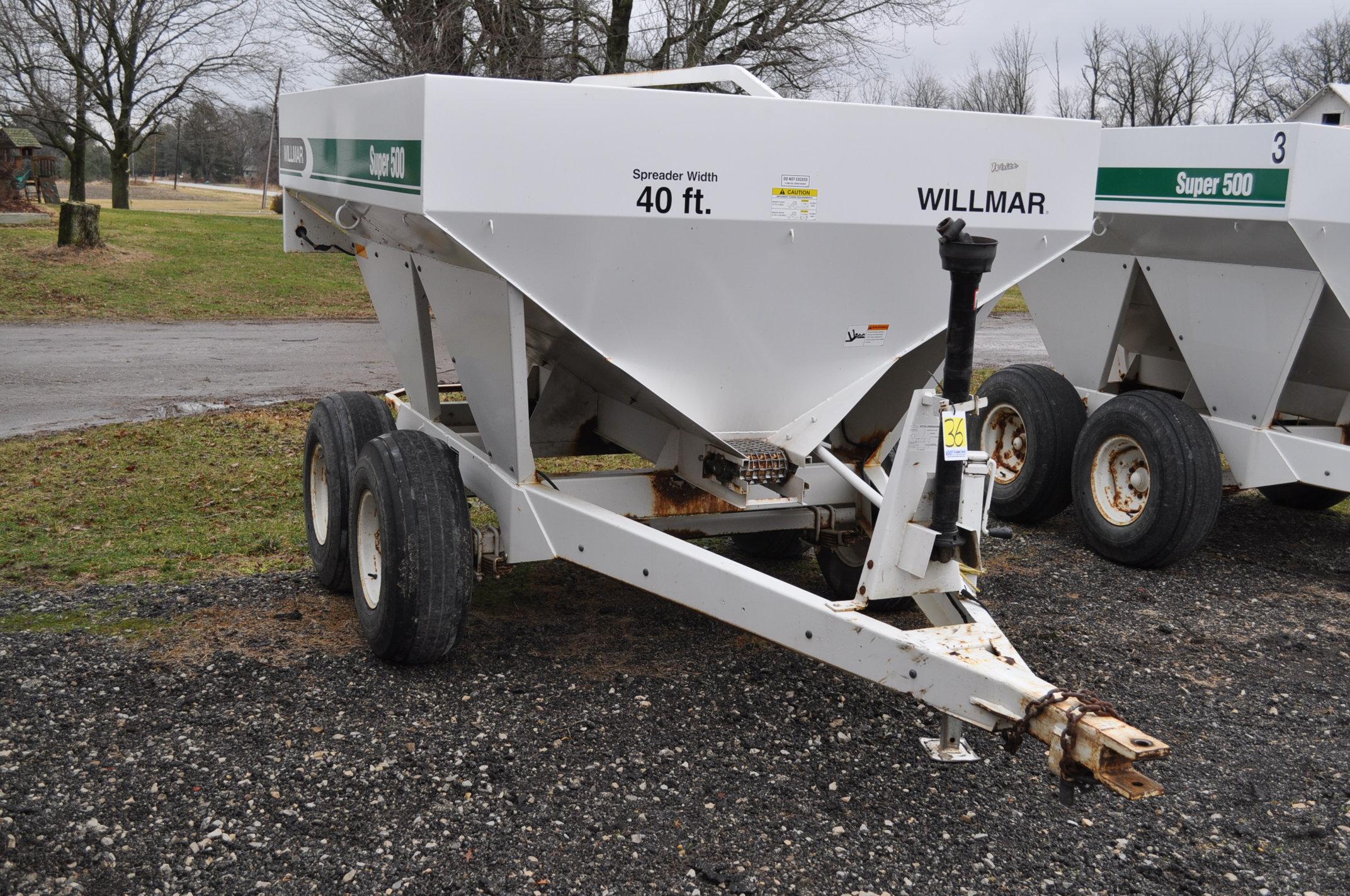 Wilmar Super 500 dry fertilizer spreaders, tandem axles, 12.5L-15 tires, twin spreaders, 540 pto - Image 4 of 12