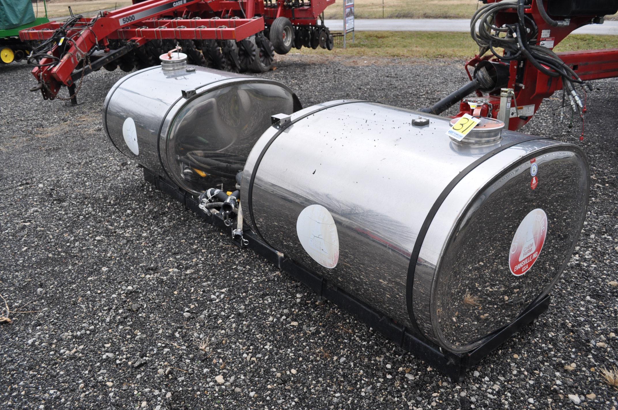 (2) 250 gal SS saddle tanks on cradle