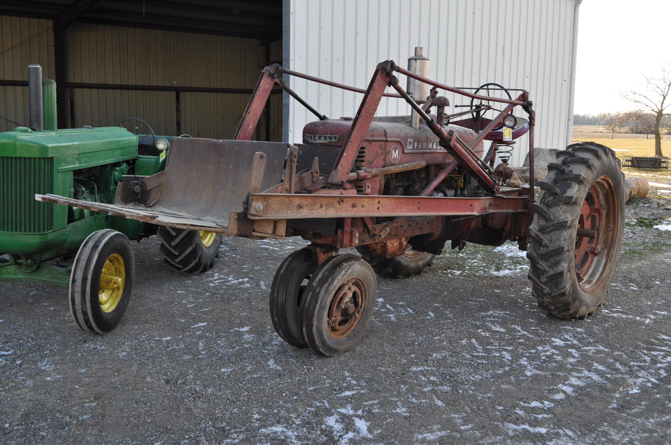 Farmall M tractor, 13.6-38 rear, narrow front, gasoline, loader, 540 PTO, SN FBK276