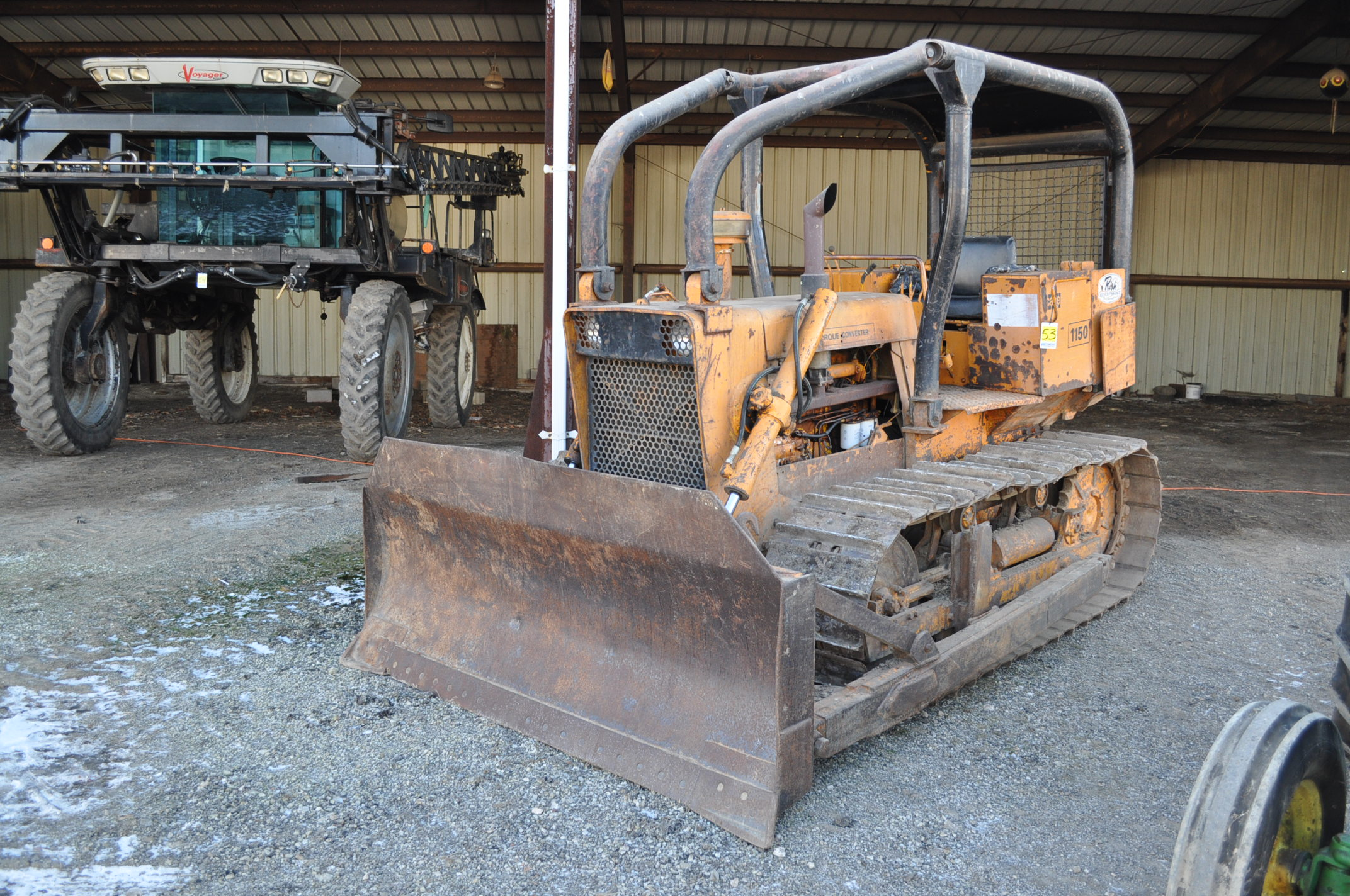 Case 1150 dozer, 8' 4 way blade, rear hitch, diesel, shows 1250 hrs, hrs unkown, SN missing