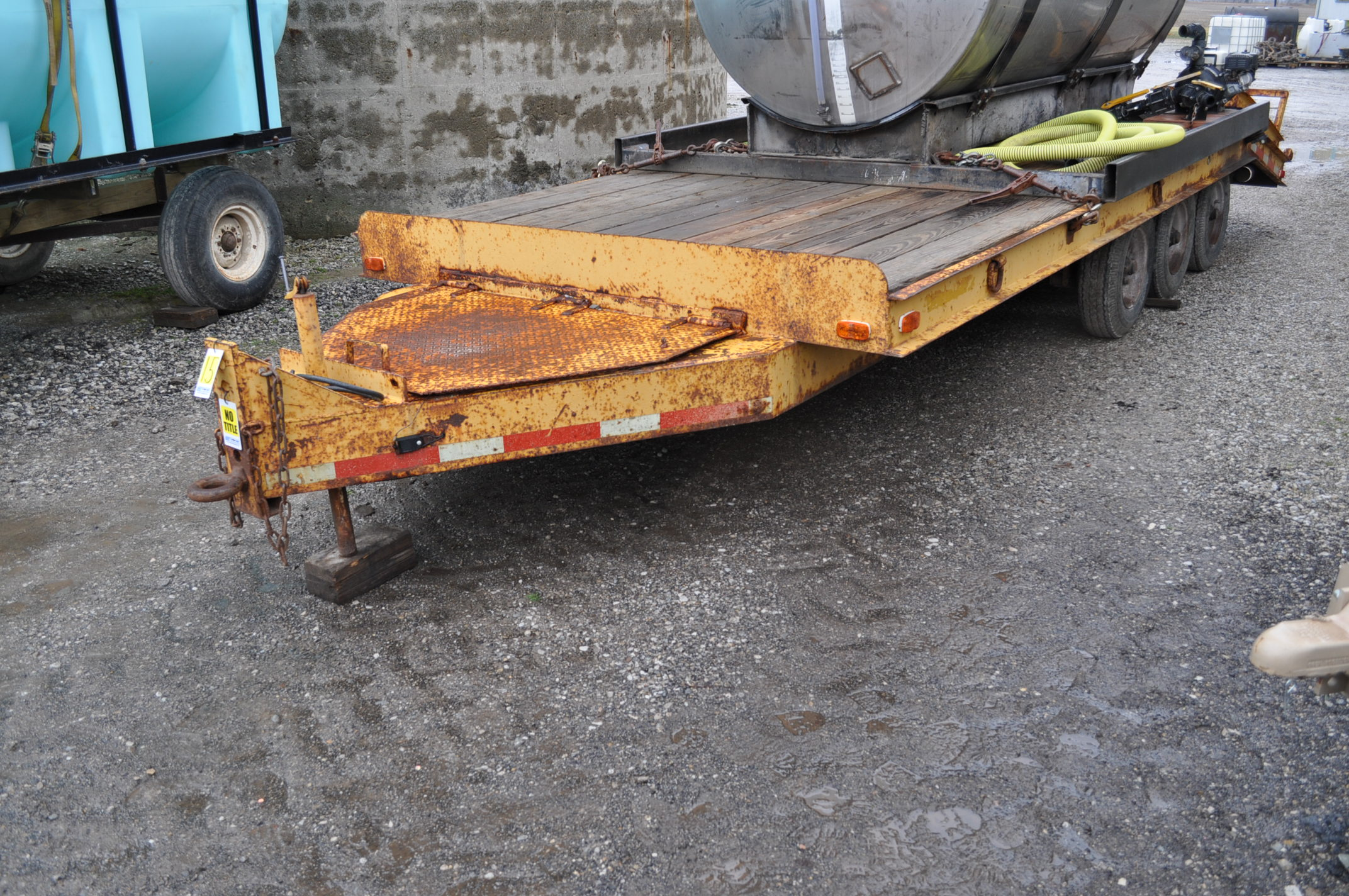 16'+5' homemade equipment trailer, 8' wide, tri axle, ramps, electric brakes, 8-14.5 tires, pintle