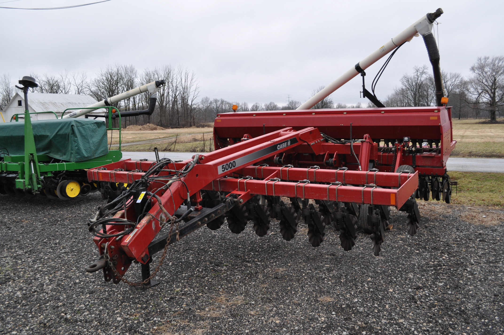 "Case IH 5400 grain drill, 3pt no-till caddie cart, 7 ½"" spacing, 2 bar coil tine drag, Remlinger"