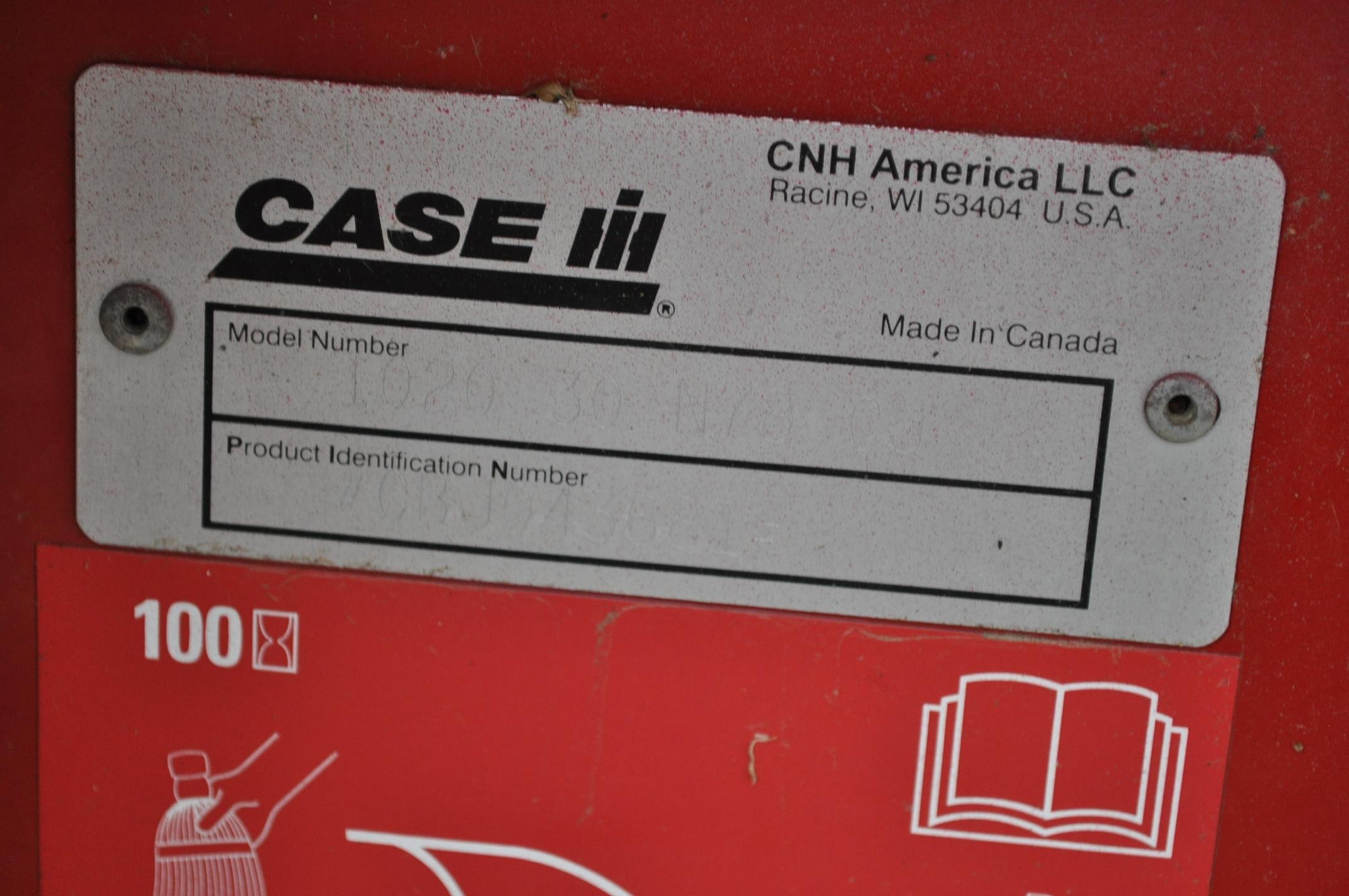 "30' Case IH 1020 grain head, row crop divider, hyd for/aft, 3"" knife, SN CBJ043681, spare floor, - Image 6 of 8"