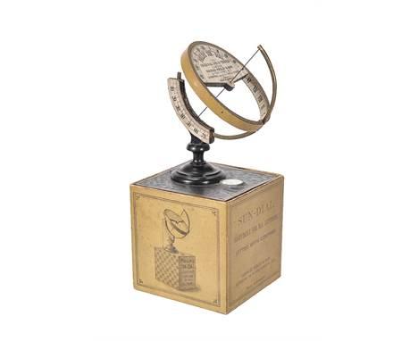 ϒA German ebony brass and card universal equinoctial sundial, made for George Philip & Son, London and Liverpool, early 20th