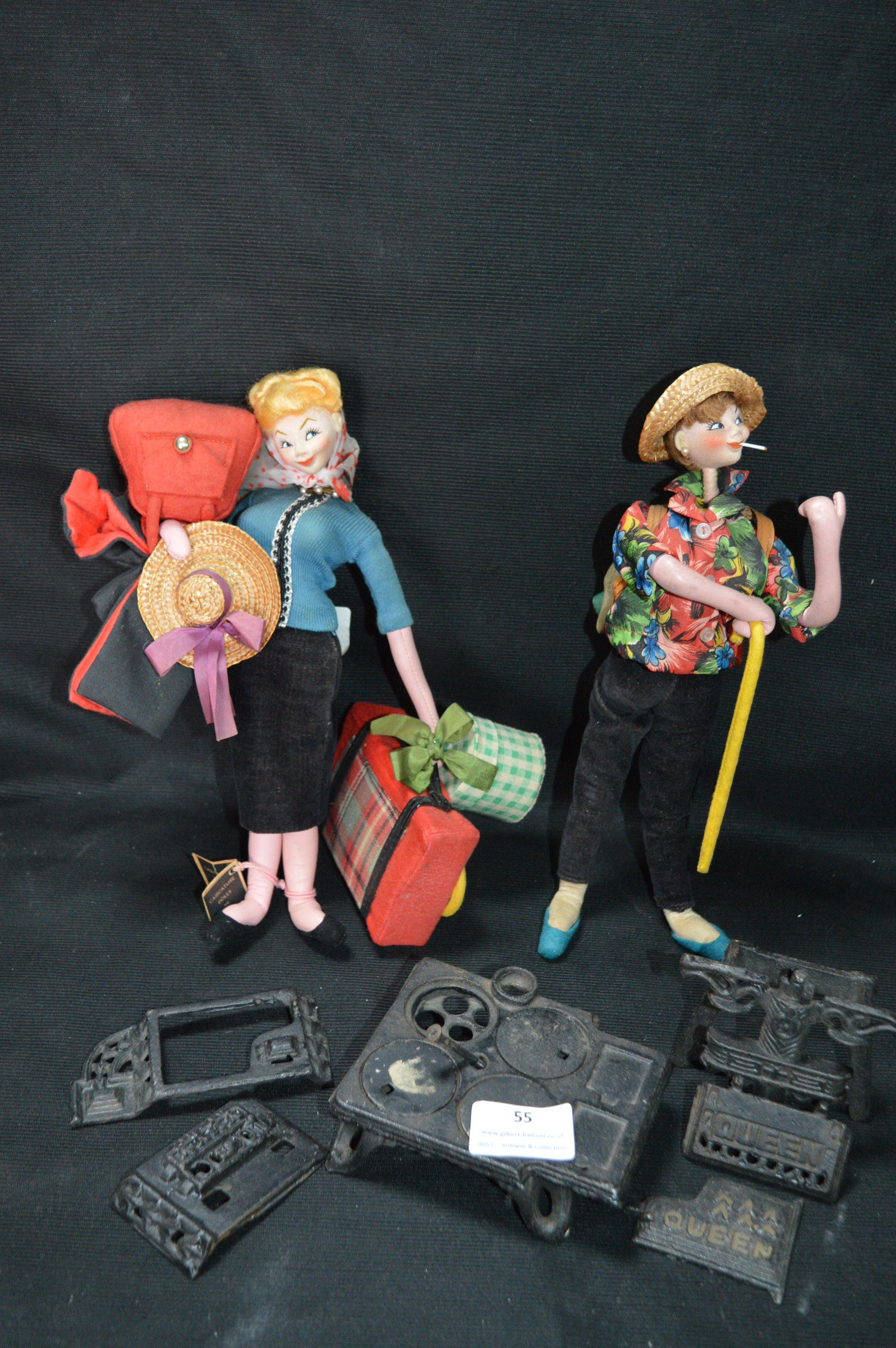 Lot 55 - Two Vintage Dolls and Dolls House Fireplace Accessories