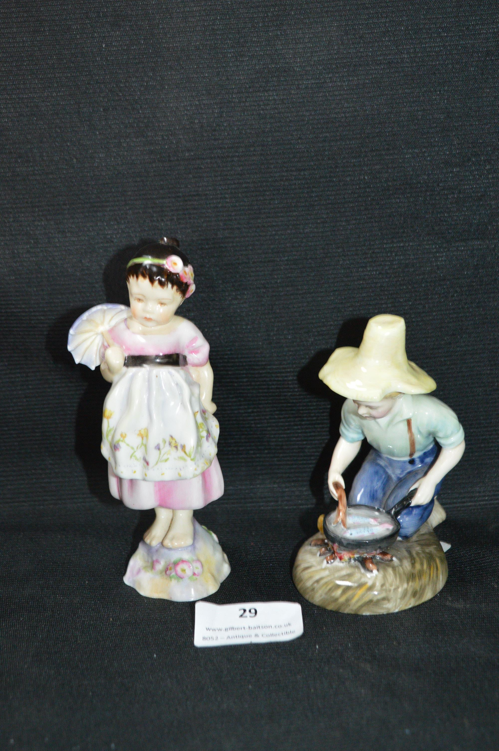 Lot 29 - Rare Royal Doulton Figurine - River Boy, and a Small Royal Worcester Figurine of a Young Girl