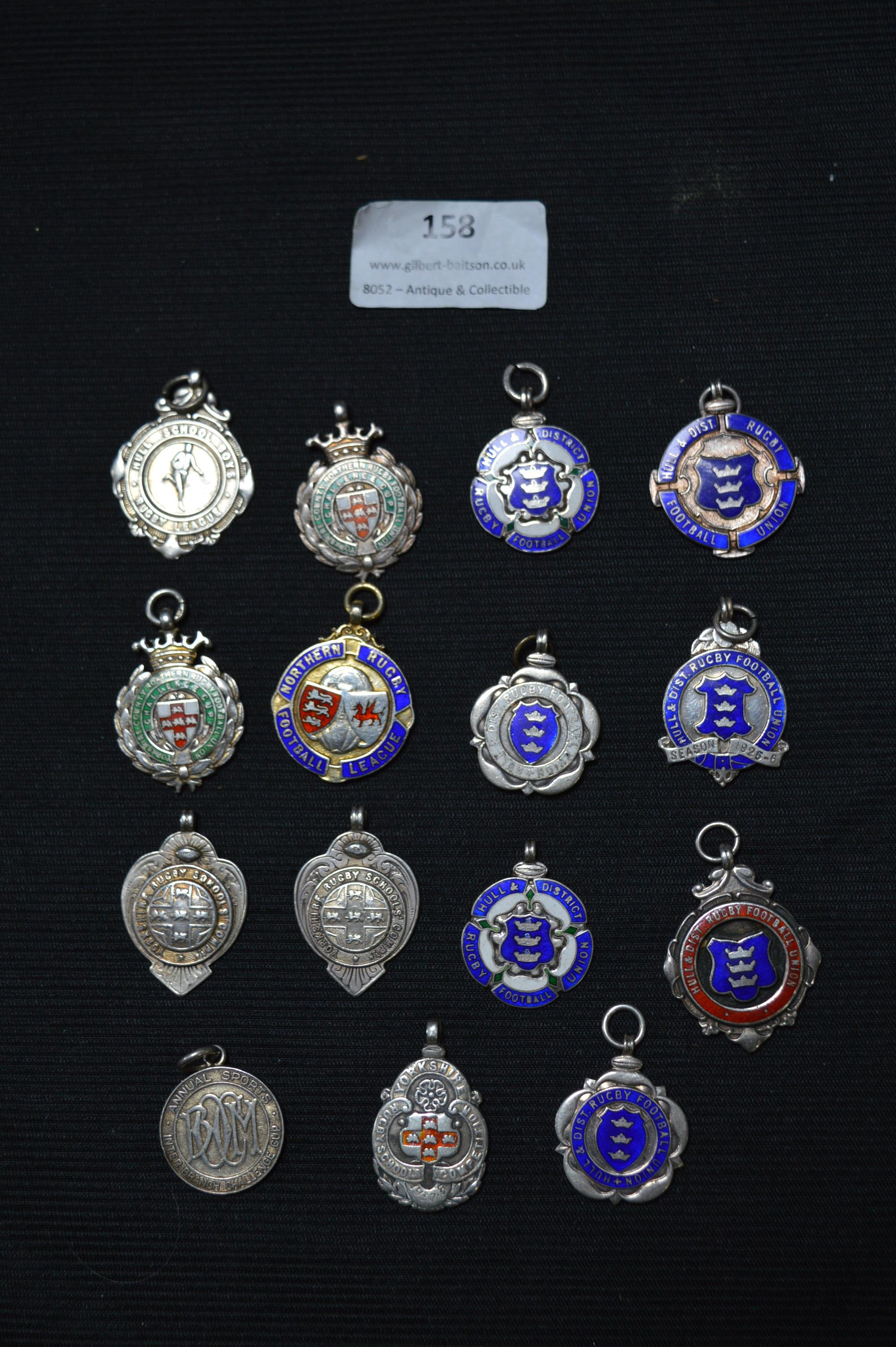 Lot 158 - Fifteen Hull Silver Rugby Medals