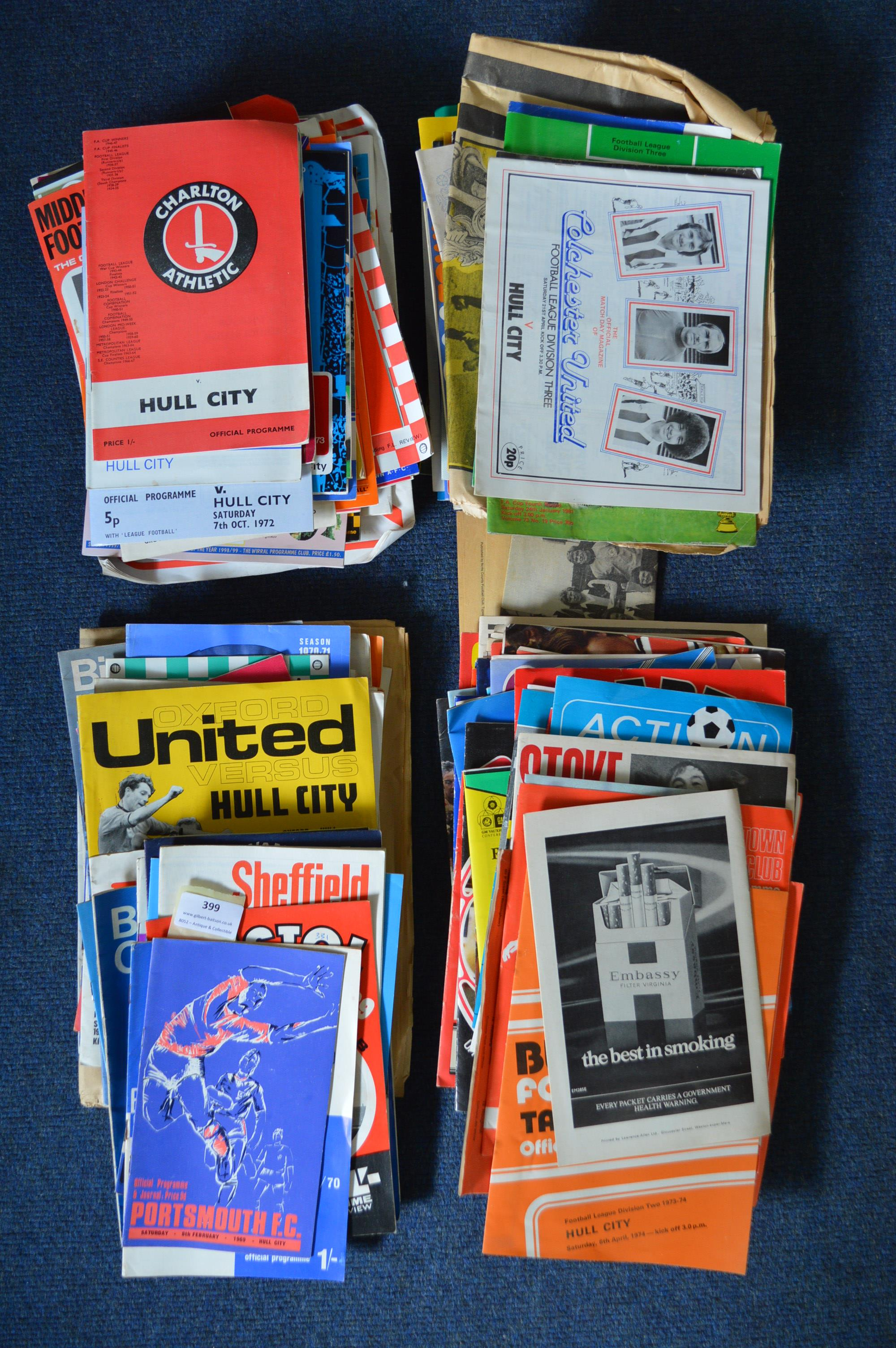 Lot 399 - Large Assorted of Hull City Away Football Programm