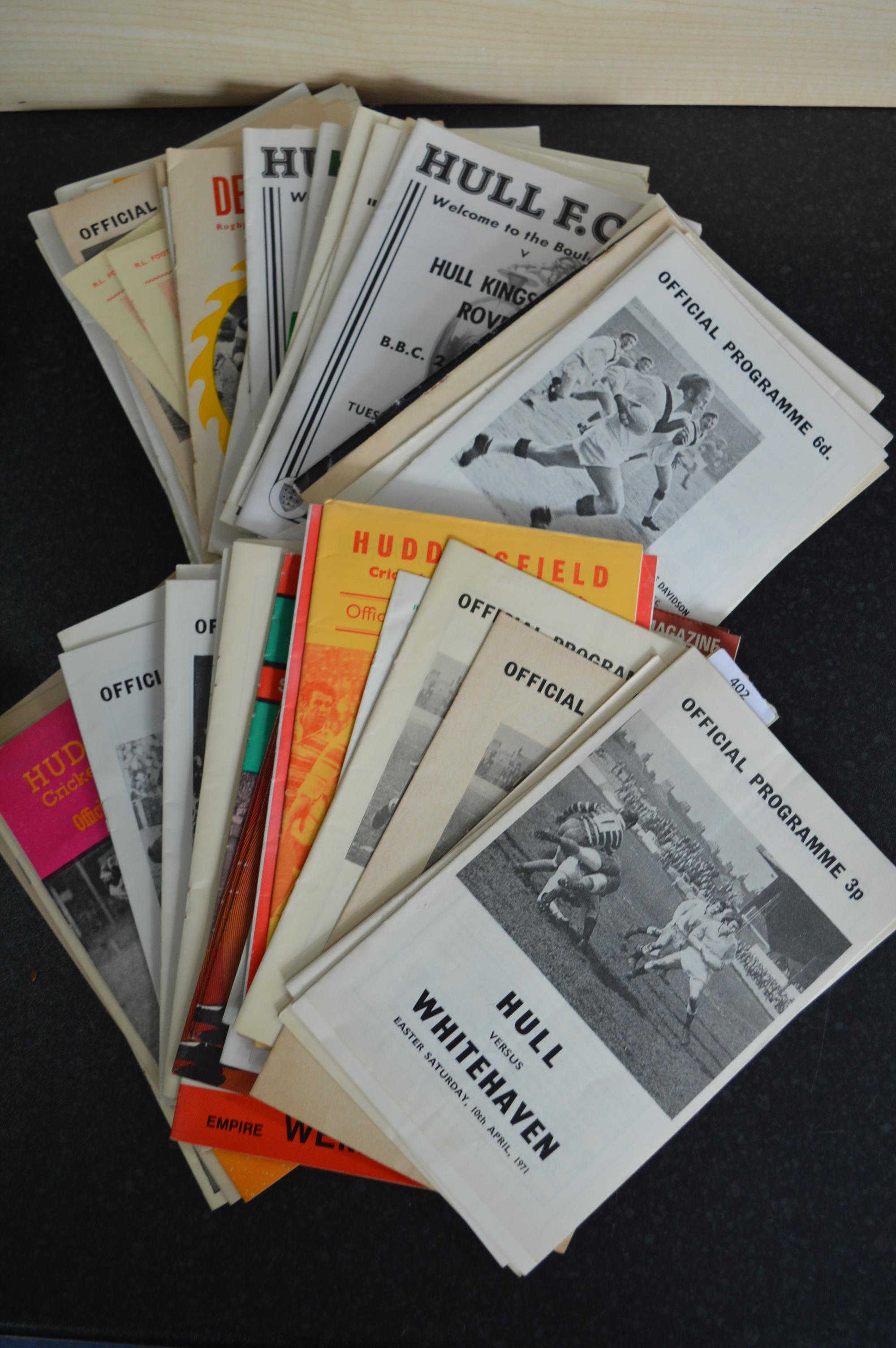 Lot 402 - Collection of Assorted Hull Rugby Programmes