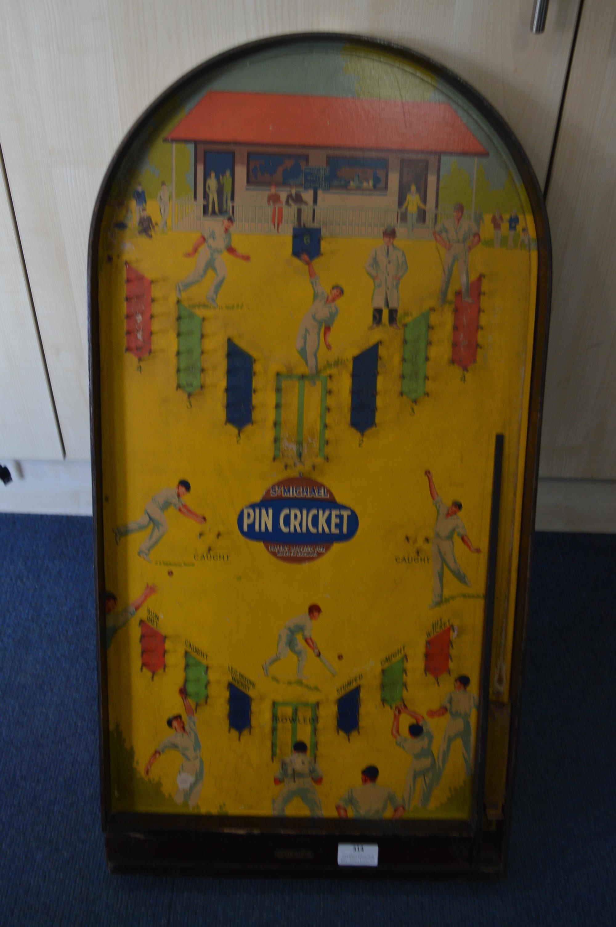 Lot 314 - Vintage Pin Cricket Bagatelle Board