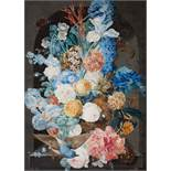 Franz Xaver PetterVase mit Blüten in einer Nische, Schmetterling und Blaufink