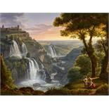 Rudolph Friedrich Carl SuhrlandtWeite Landschaft bei Tivoli mit den Wasserfällen und der Sta
