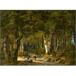 Willem de KlerkHirte mit Tieren in sonniger Waldlichtung
