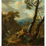 Monogrammist FDBewaldete Landschaft mit Tobias und dem Engel