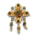 Broche flor s.XIX con símil esmeraldas y tres motivos florales colgantes.En oro de 18K de dos