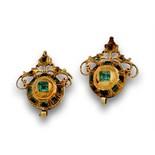 Pendientes de botones de esmeraldas s.XIX en oro de 18KSon parte superior de antiguos pendientes