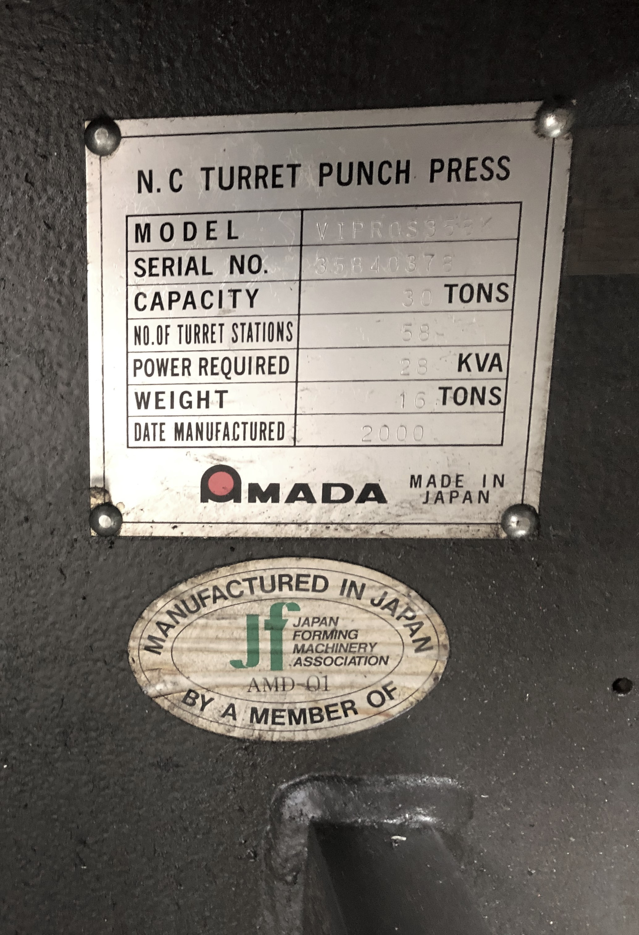 Lot 12 - AMADA MODEL VIPROS 358 KINGII CNC TURRET PUNCH, FANUC SERIES 18-P CNC CONTROL, 30-TON CAPACITY, 58
