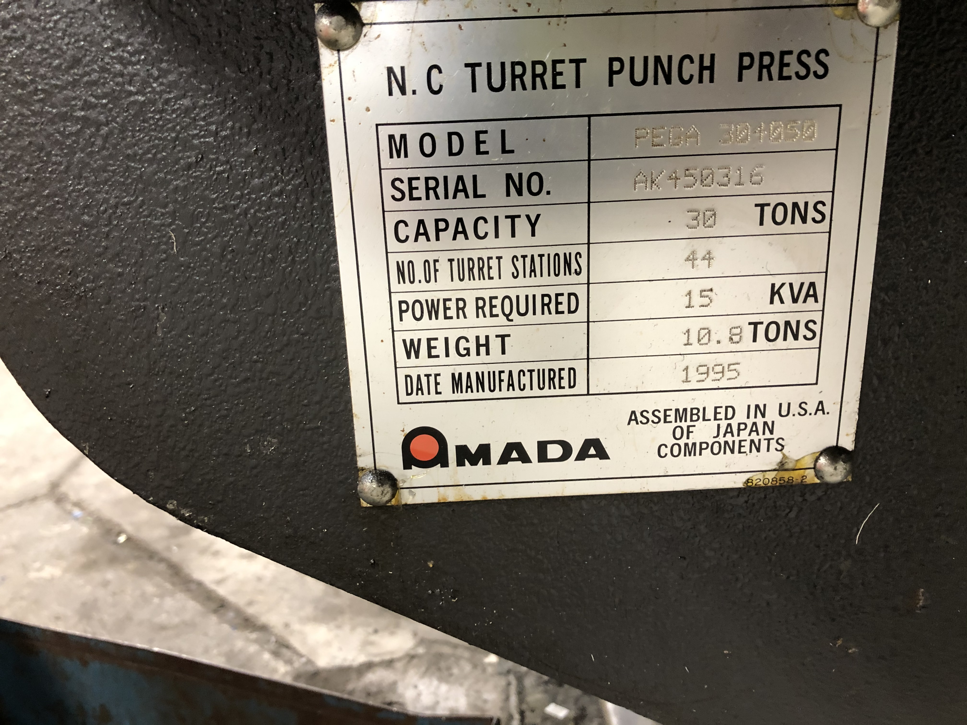 Lot 13 - AMADA MODEL PEGA 304050 NC TURRET PUNCH, AMADAN-04P-C NC CONTROL, 30-TON CAPACITY, 44 TURRET